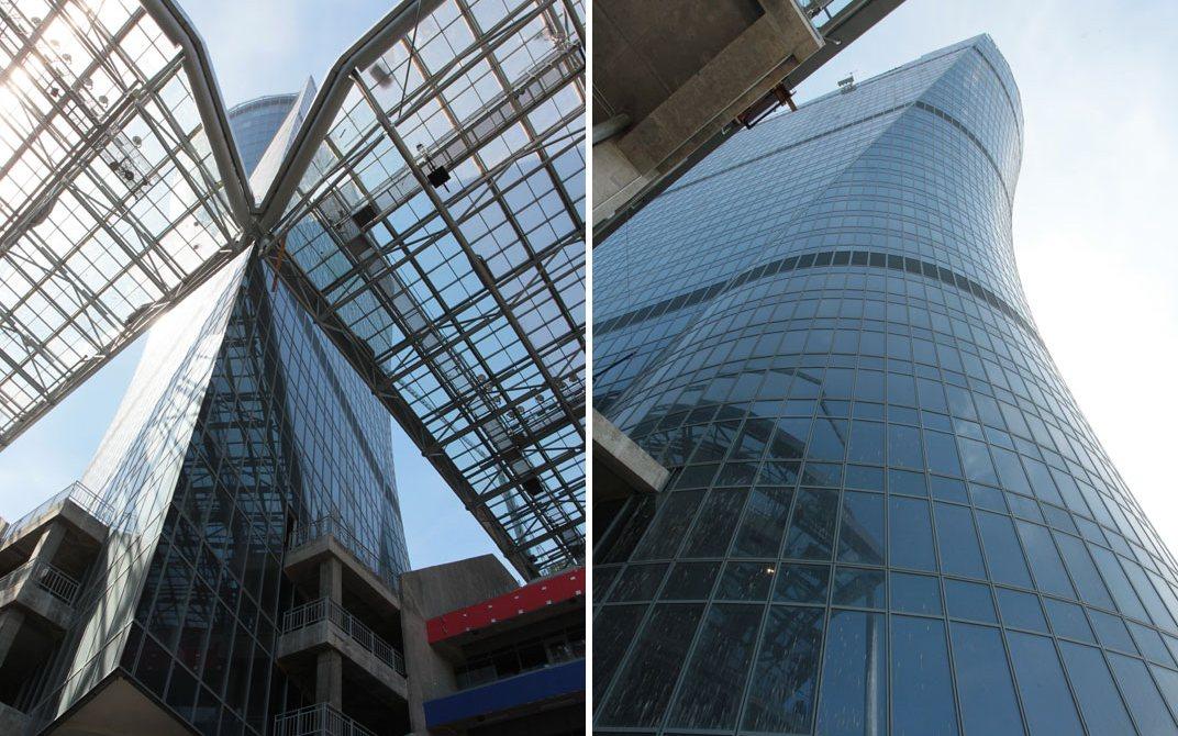 Бизнес-центр в 38-этажной башне получил название «ЦСКА Арена». Здание по форме напоминает кубок УЕФА: такое архитектурное решение призвано напомнить о победных традициях футбольного клуба ЦСКА в европейских турнирах, написано на сайте стадиона