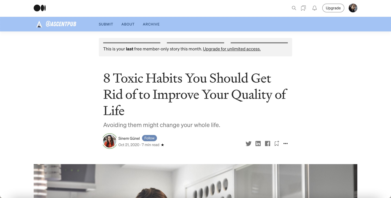 Надпись сверху: «Это последняя бесплатная статья для вас в этом месяце. Получите безграничный доступ»