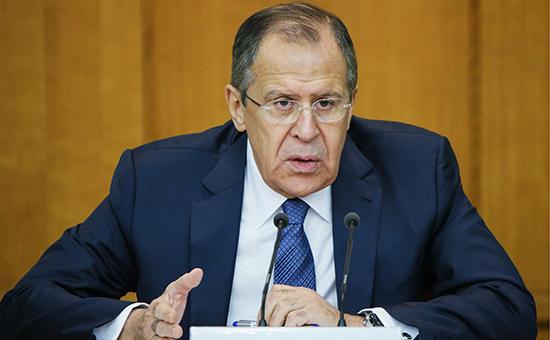 Министр иностранных дел РФ Сергей Лавров на большой итоговой пресс-конференции, посвященной подведению внешнеполитических итогов 2015 года