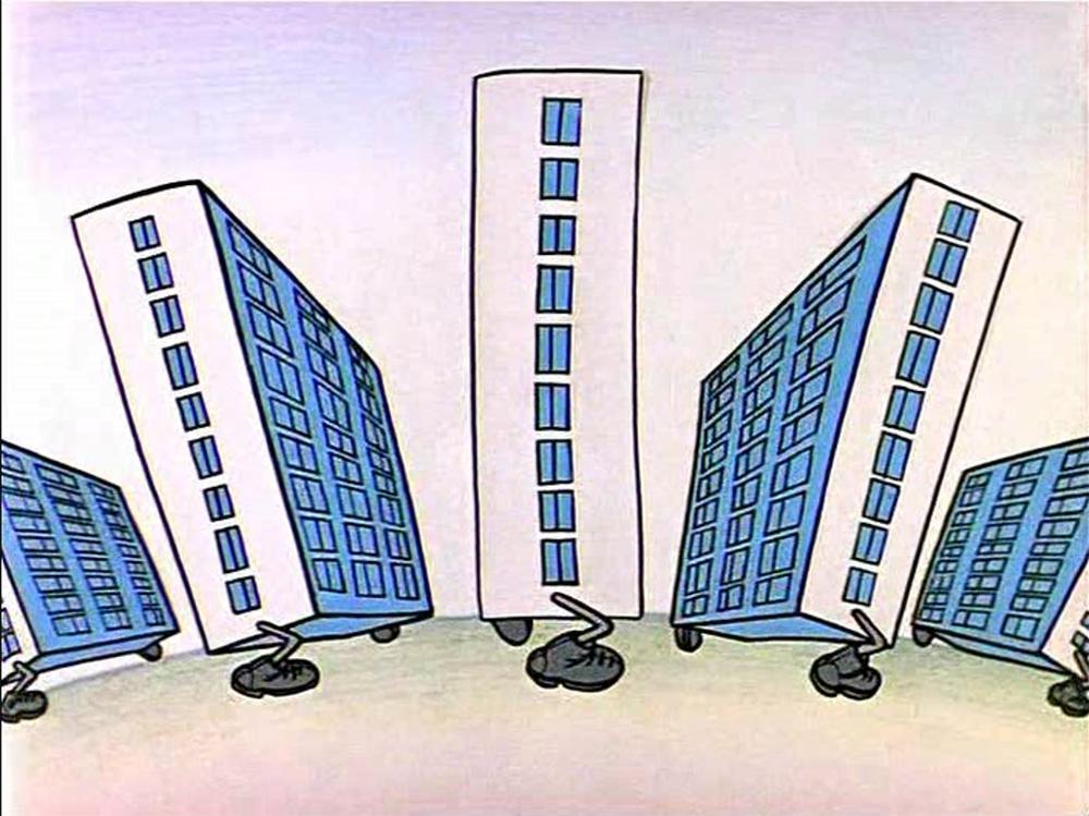 Кадр из кинофильма «Ирония судьбы, или С легким паром», высмеивающий типовую застройку 1970-х годов. Реж. Эльдар Рязанов. 1975 год