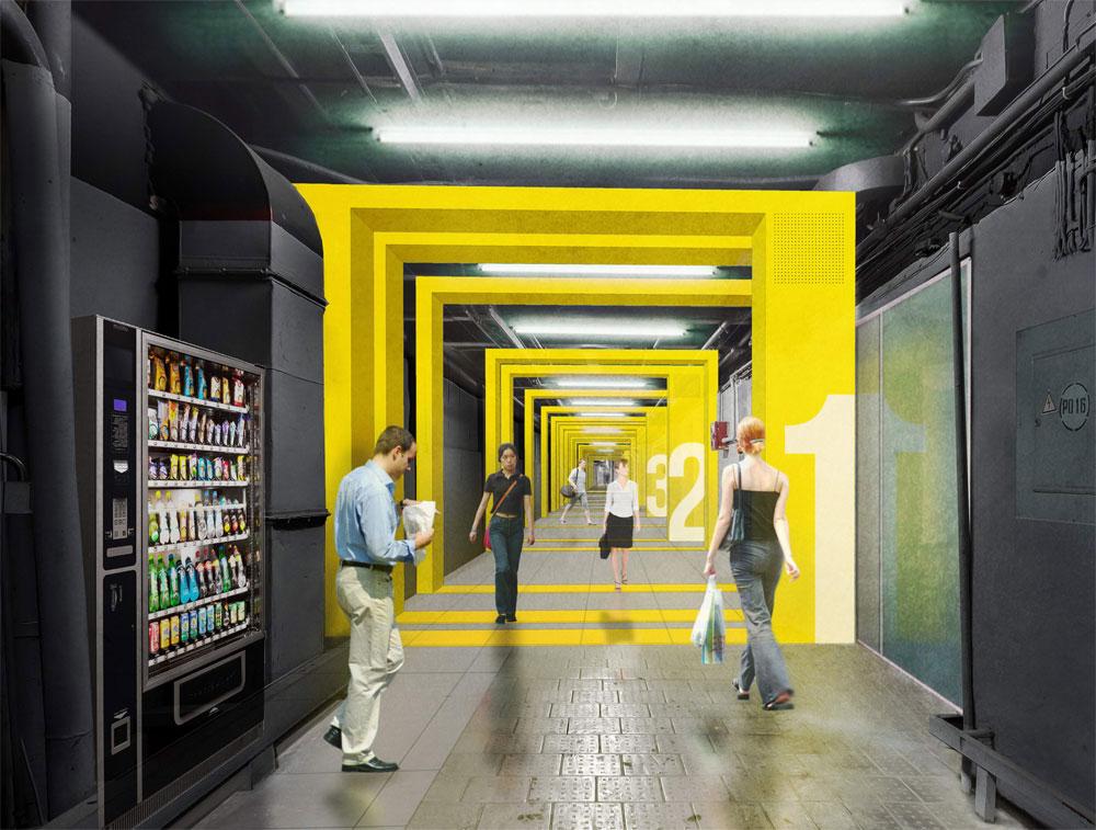 В отделке коридора ритмически чередуются прямоугольные объемные «рамы» и отремонтированные фрагменты прежних стен, пола и потолка