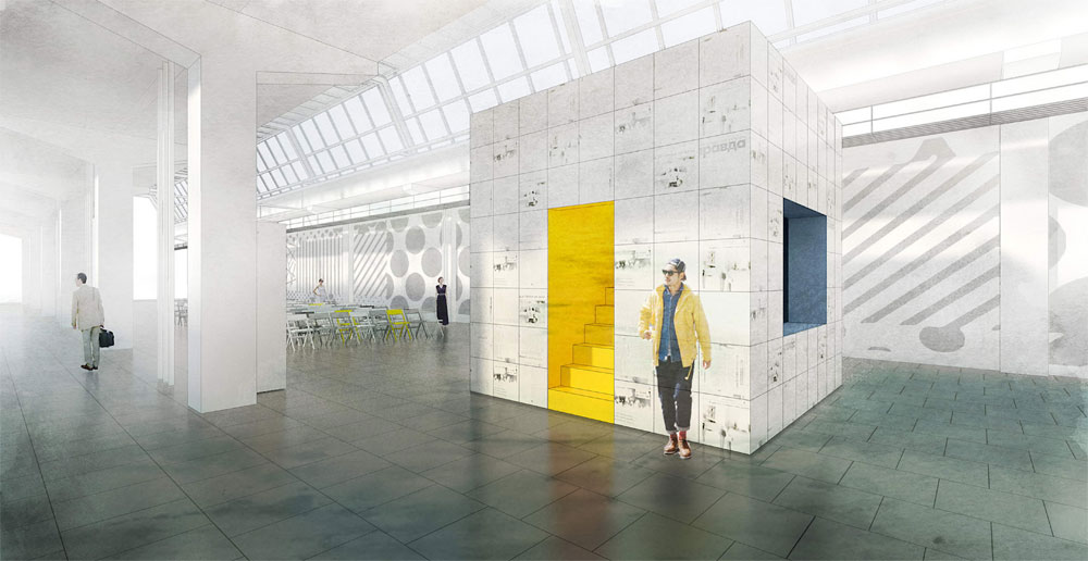 В общественном пространстве цеха размещается многофункциональный средовой модуль «Куб Правды». Одновременно он выполняет функции киоска, инфоблока, хранения оборудования длялекций ивыставок