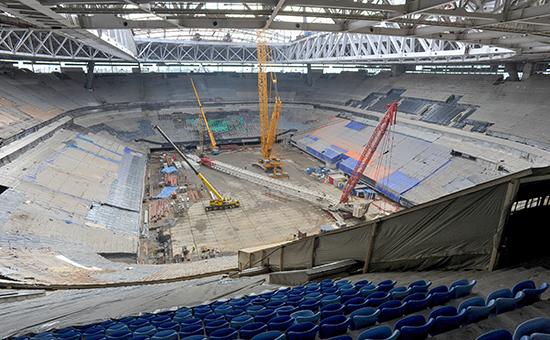 Строительство стадиона «Зенит-Арена», 5 апреля 2016 года