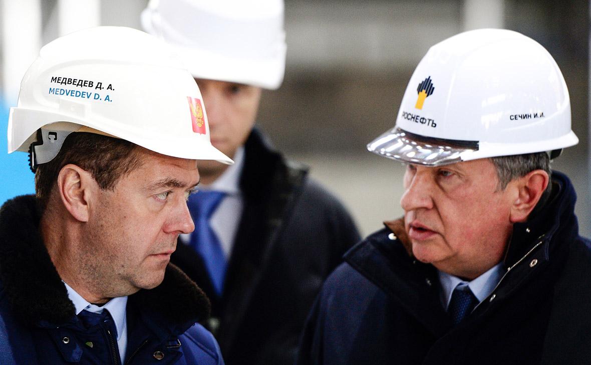 Дмитрий Медведев иИгорь Сечин. 2015 год