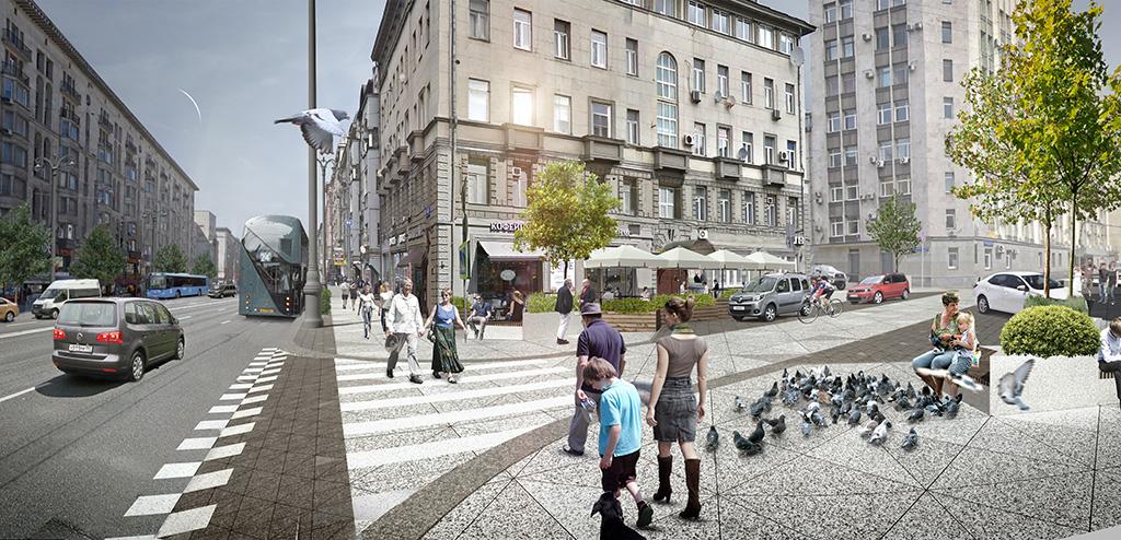 Участок проезжей части поднимут в один уровень с тротуарами — там появятся «пространства для всех» — Shared Space
