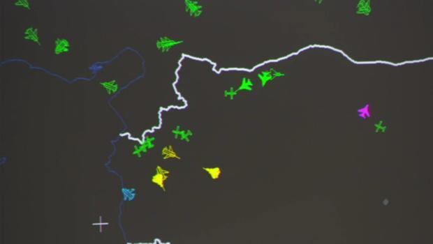 График, показывающий, насколько близко российские самолеты подлетели к американским (желтым обозначена российская авиация, зеленым — авиация США)