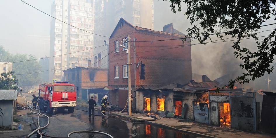 Тушение пожара в центре Ростова-на-Дону