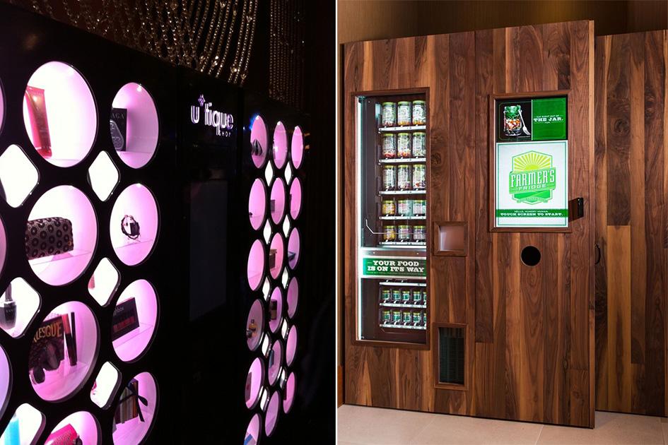 Автоматы всовременных отелях продают нетолькошоколадные батончики сгазировкой, нои здоровую пищу (на фото справа) идаже косметику (на фото слева)