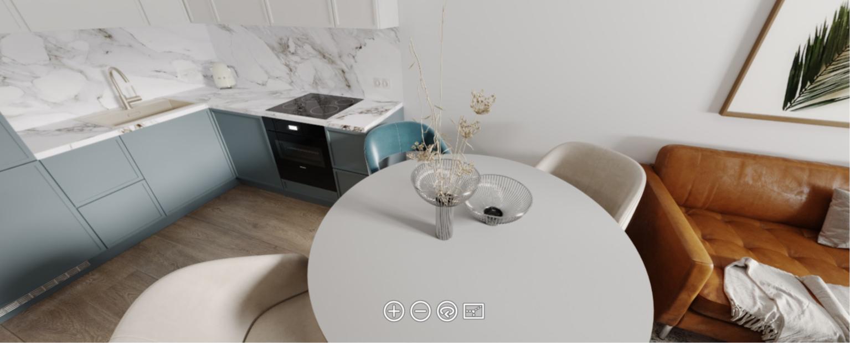 ЖК «Заречье Парк». 3D-панорама кухни в квартире с отделкой