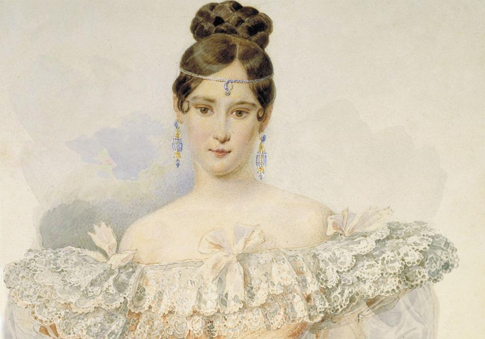 Фото: А. П. Брюллов. Портрет Н. Н. Пушкиной. Акварель, 1831-1832