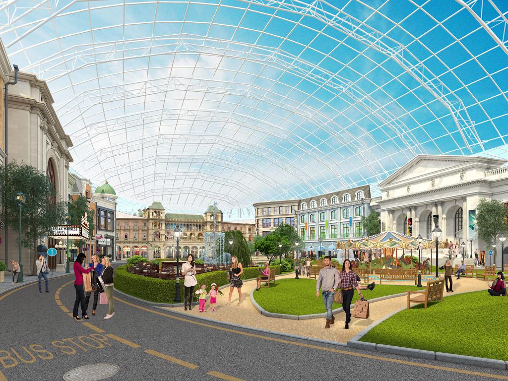 Атриумы у главного входа, центральный ипередвходом будут стематическими парками иаттракционами. Атриумы планируется покрыть прозрачными куполами