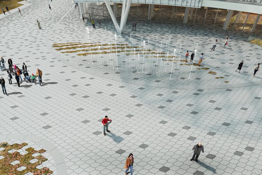 Главная особенность концертного зала—фасады, два изкоторых предполагаетсярасположить внаклонном рельефе местности. Таким образом,концертный зал будет какбы«вкопан» вхолм