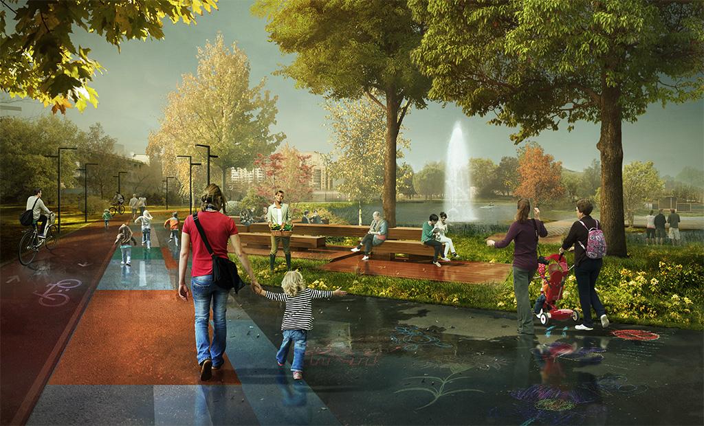 В будущем парк и Фабричный пруд свяжет единая сеть пешеходных и велосипедных маршрутов