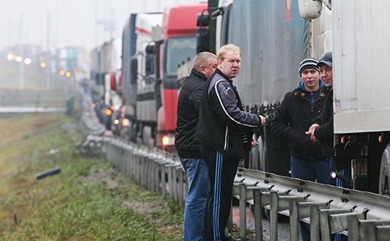 Массовая акция протеста дальнобойщиков в Московской области