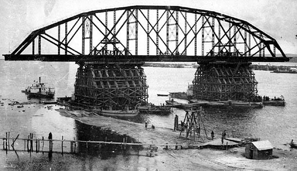 Строительство моста. Фото 1913-1916гг.