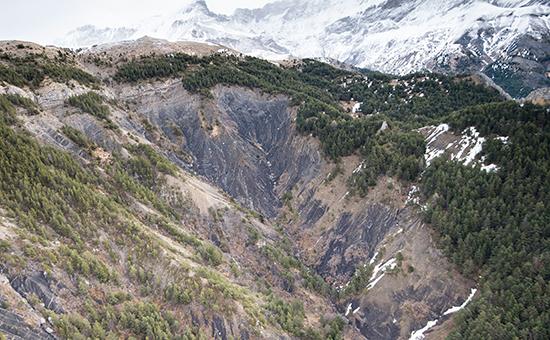 Место крушения Airbus A320 авиакомпании Germanwings в Альпах