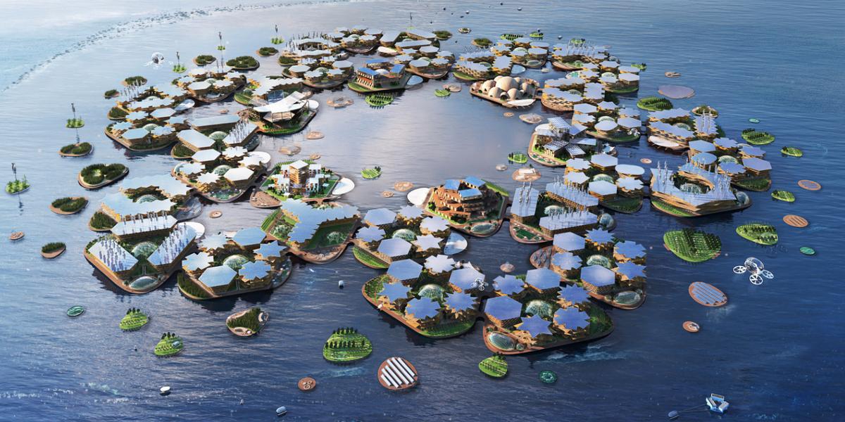 Датское архитектурное бюро BIG разработало концепцию плавучего города с населением около 10 тыс. человек. Проект под названием Oceanix City будет состоять из шести островов, включающих в себя по шесть участков суши, которые образуют деревни