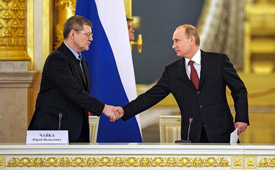Генеральный прокурор РФ Юрий Чайка ипрезидент РФ Владимир Путин, 2013 год
