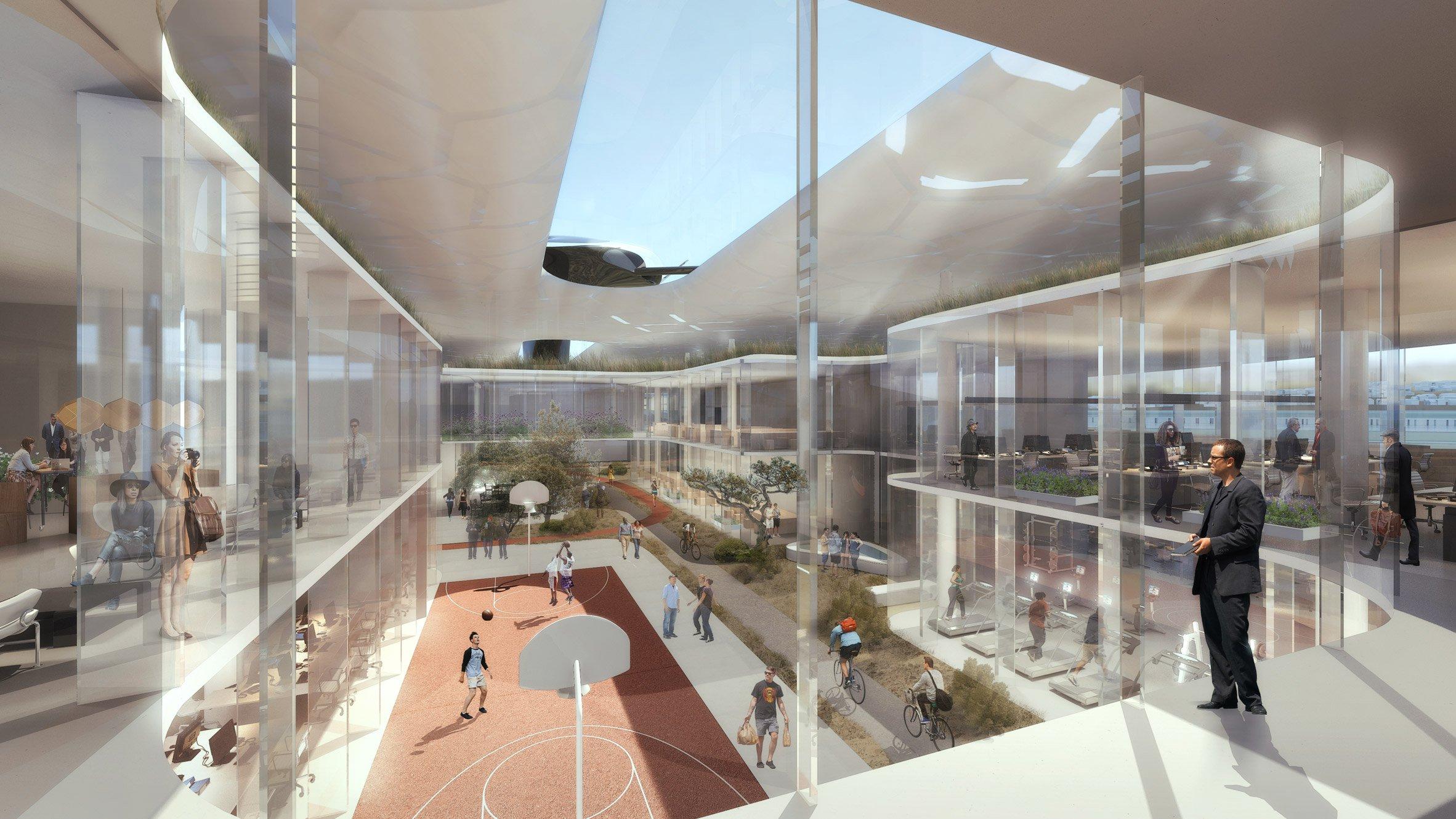 Между зданиями и на их территории спроектировано множество внутренних дворов, которые будут использоваться сотрудниками для отдыха и общения