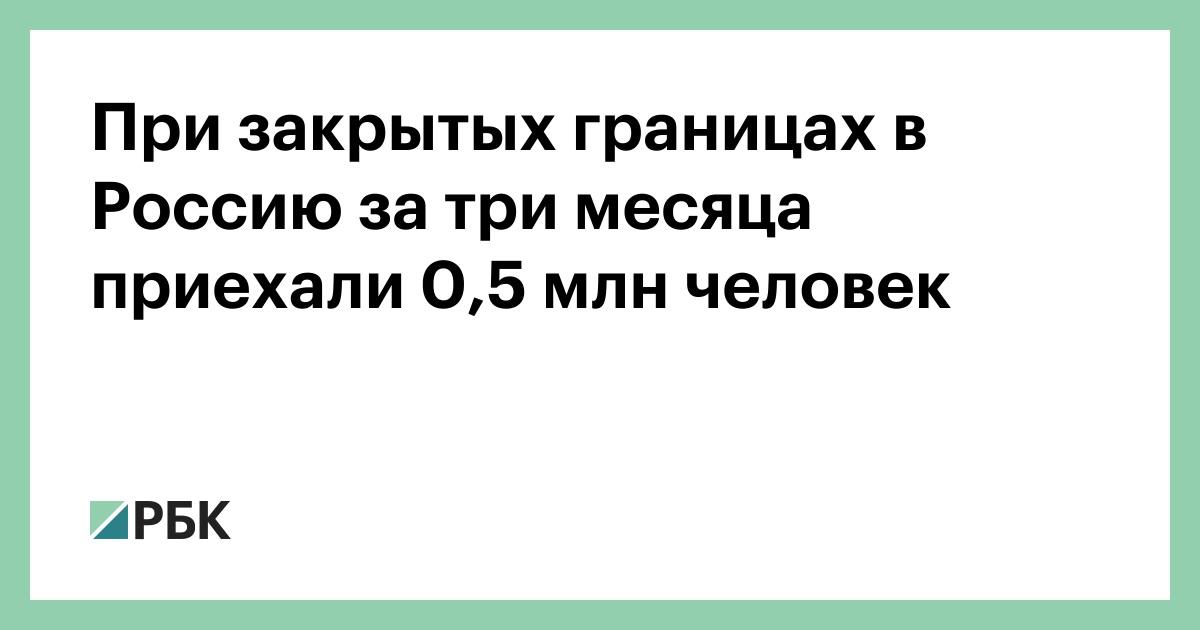 При закрытых границах в Россию за три месяца приехали 0,5 млн человек