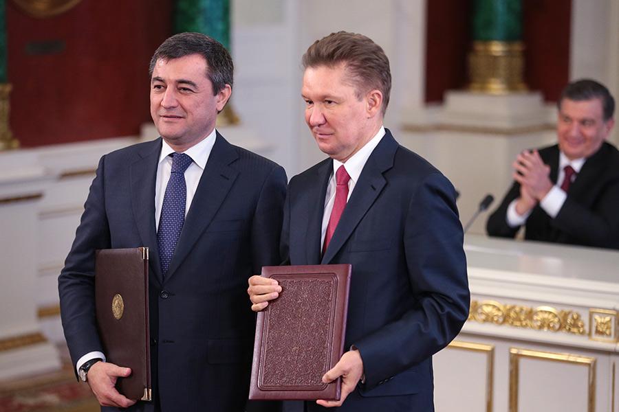 Председатель правления национальной холдинговой компании «Узбекнефтегаз» Алишер Султанов ипредседатель правления ПАО «Газпром» Алексей Миллер (слева направо)