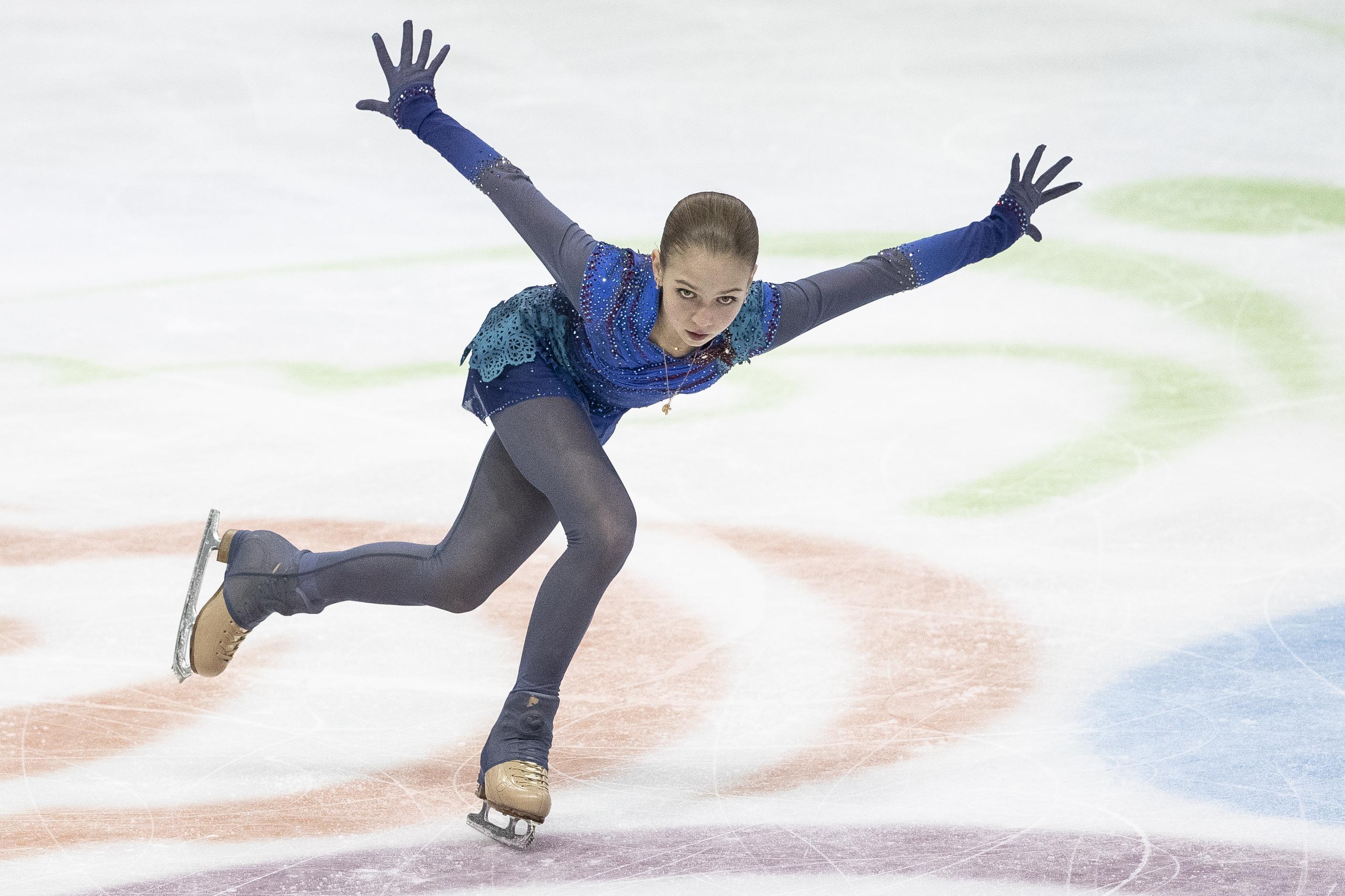 25 января 2020 г., Грац. Выступление Александры Трусовой на чемпионате Европы, в ходе которого она выиграла бронзовую медаль