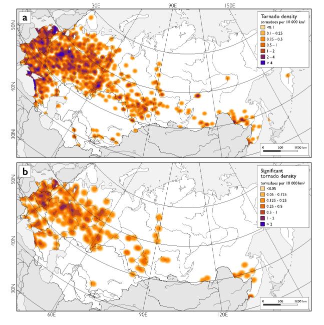 Плотность смерчей на 10 тыс. кв. км в период с 1900 до 2016: (а) все зафиксированные случаи смерчей над сушей и (б) только сильные смерчи