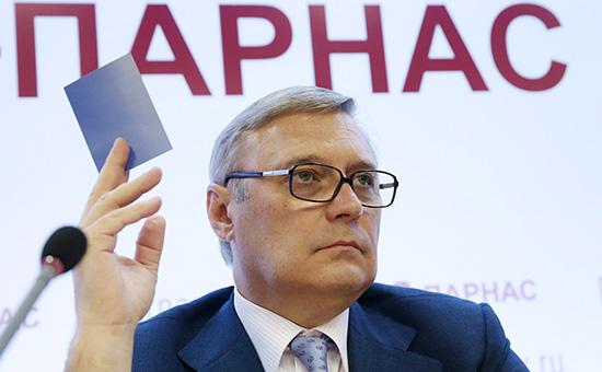 Председатель Михаил Касьянов на съезде партии ПАРНАС, июль 2015 года