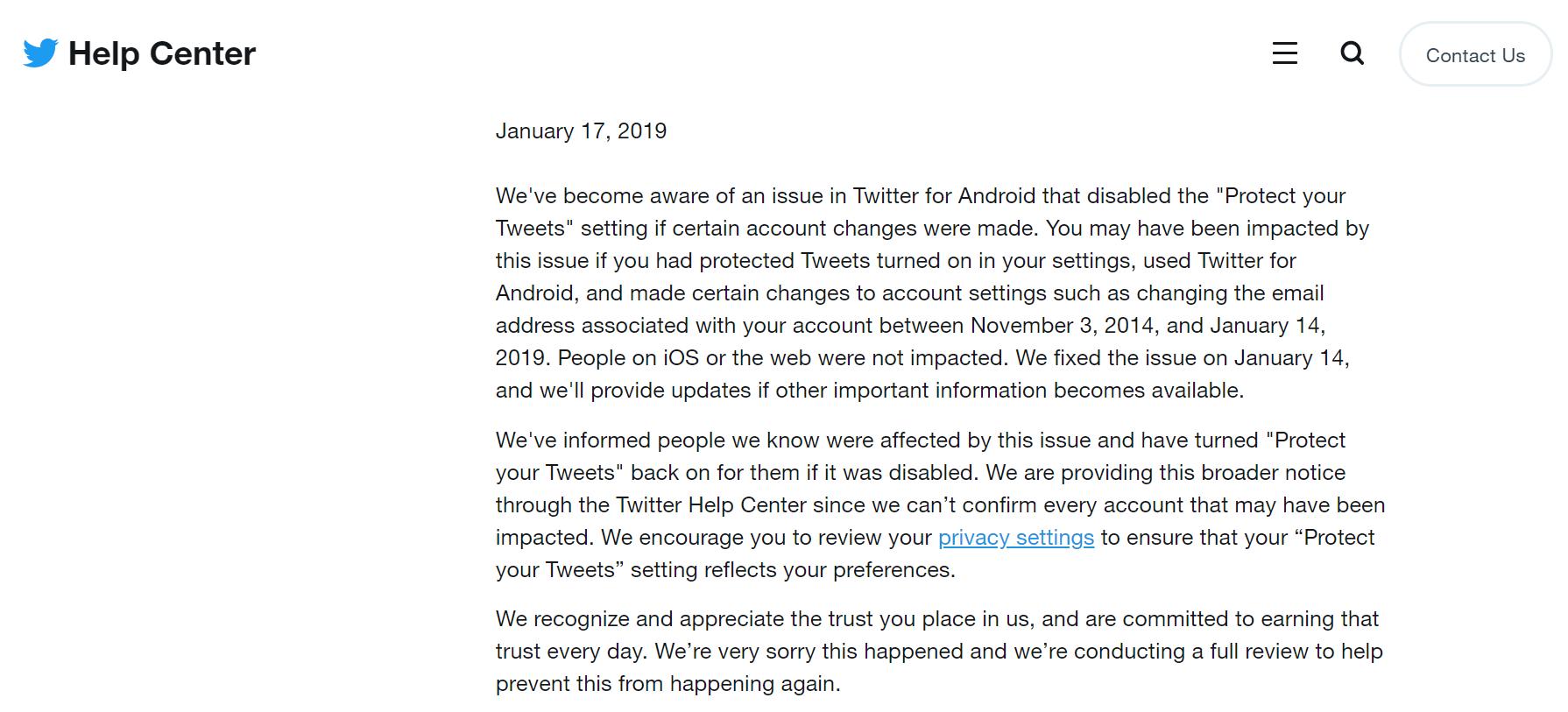 Извинения Twitter