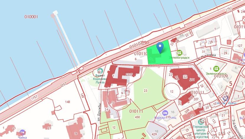 Фото: Скриншот кадастровой карты. Участок под строительство выделен зеленым