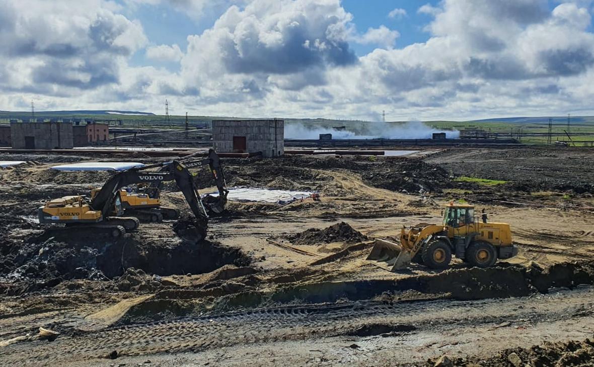 Вид на полигон хранения загрязненного грунта на территории ТЭЦ-3