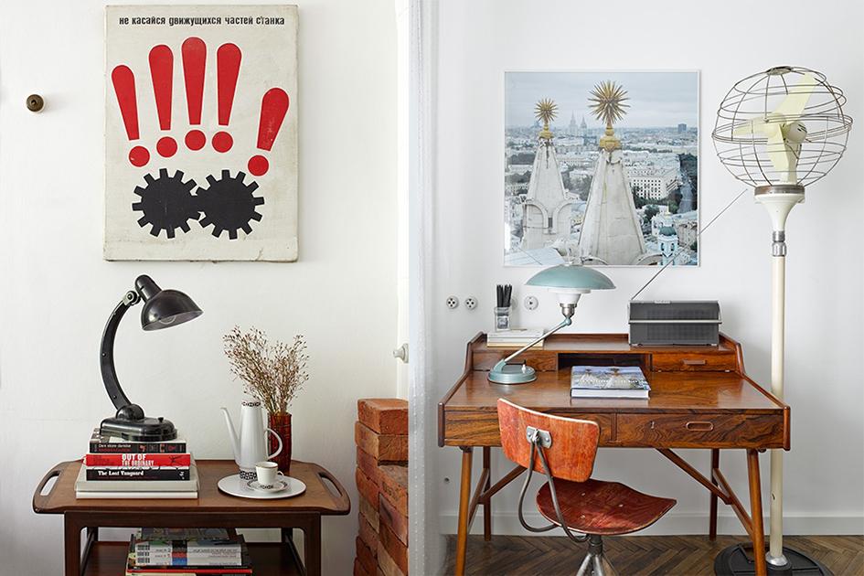 Интерьер рабочей зоны состоит изсоветской мебели идосих пор функционирующего вентилятора