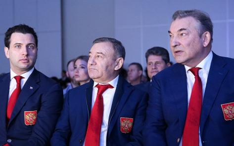 Первый вице-президент ФХР Роман Ротенберг, председатель правления Аркадий Ротенберг и президент Владислав Третьяк
