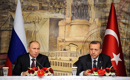 Владимир Путин и Реджеп Тайип Эрдоган во время встречи3 декабря 2012 года
