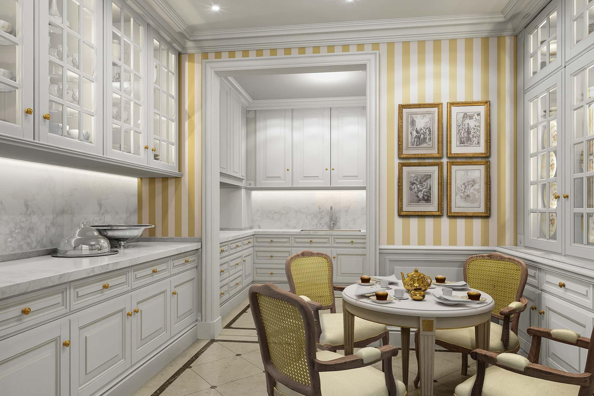 «Классический»  Рабочая зона кухни выполнена из белоснежного итальянского мрамора Arabescato