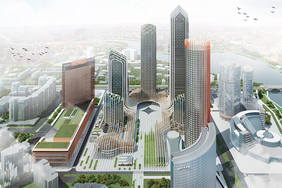 Сетчатая структура  Белые вертикальные колонны стали лейтмотивом, которыйобъединяет все восемь высоток квартал «Екатеринбург-Сити»