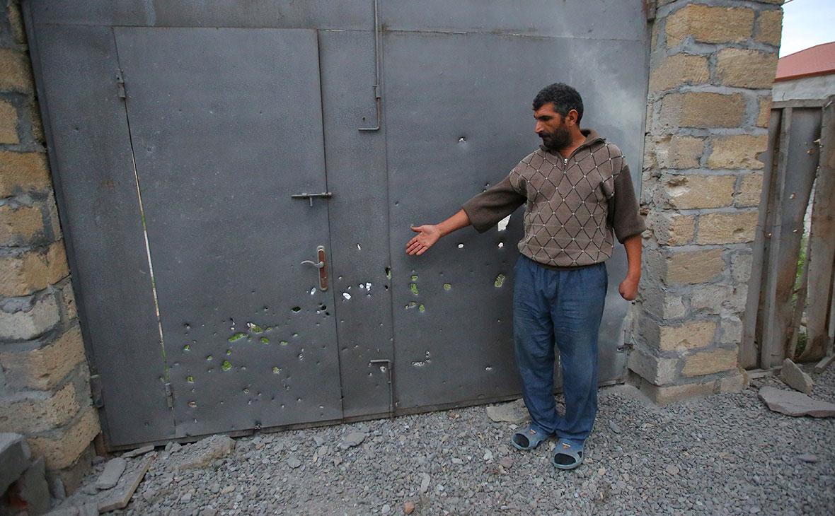 Последствия обстрела в городе Тартар, Азербайджан