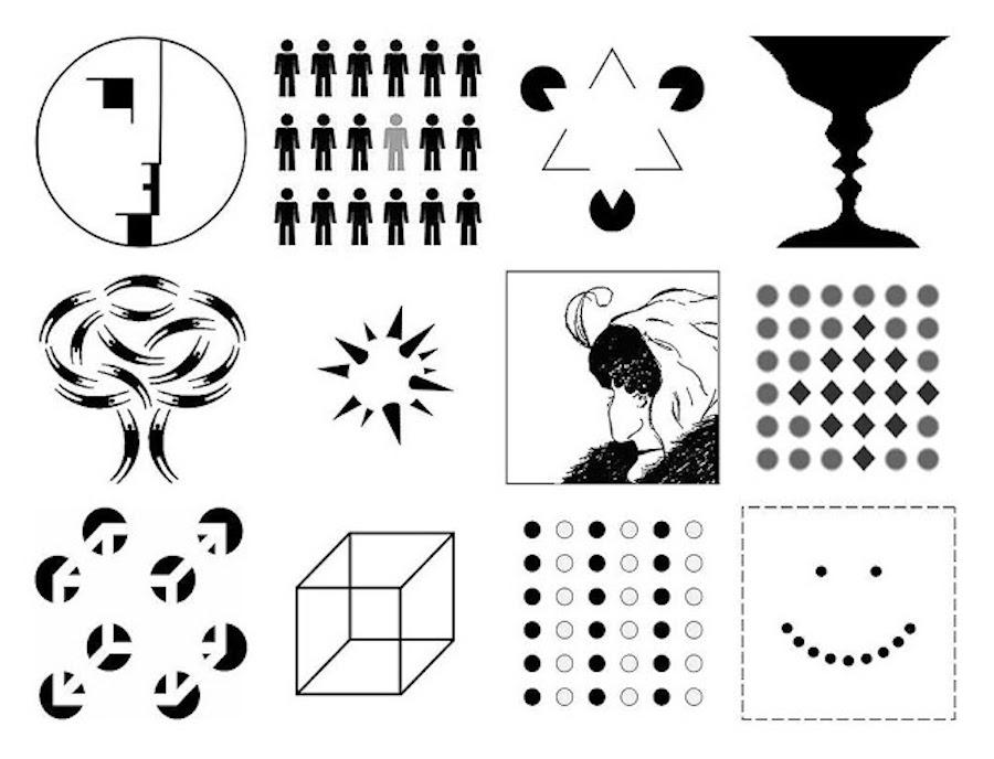 Рисунки, отображающие эффект гештальта