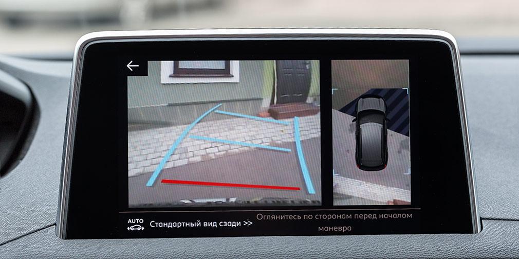Картинки, транслируемые задней и передний камерами, дополнены подвижными графическими подсказками.