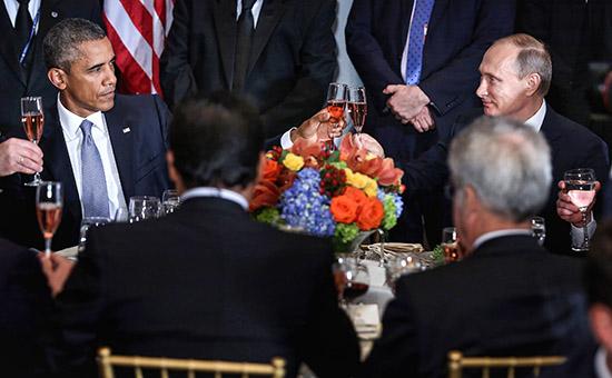 Президент США Барак Обама ипрезидент России Владимир Путин наланче вГенассамблее ООН