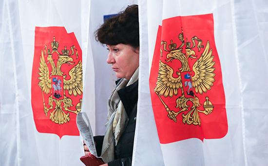 На одном изизбирательных участков Москвы вединый день голосования