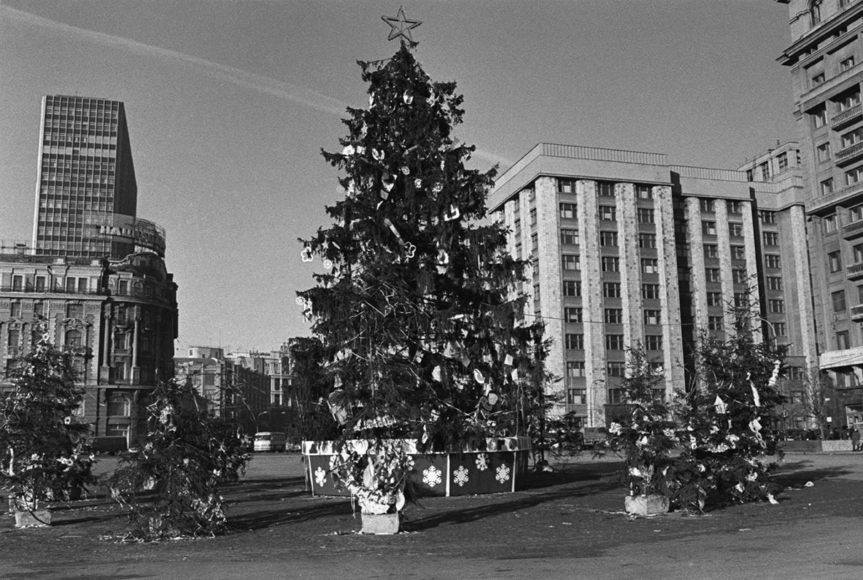 Новогодняя елка на площади 50-летия Октября. 1977 год