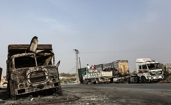 Пострадавшиеот авиаударагрузовики гуманитарного конвоя, 20 сентября 2016 года