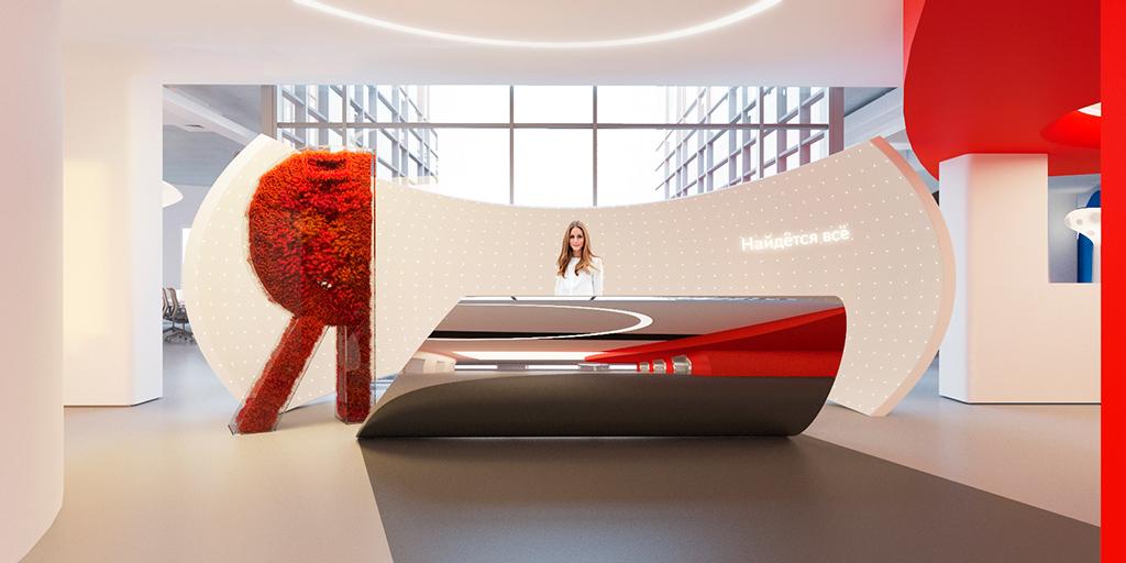 Логотип компании—красная буква «Я»— обыгрывается ивинтерьере офиса, предложенного IND Office