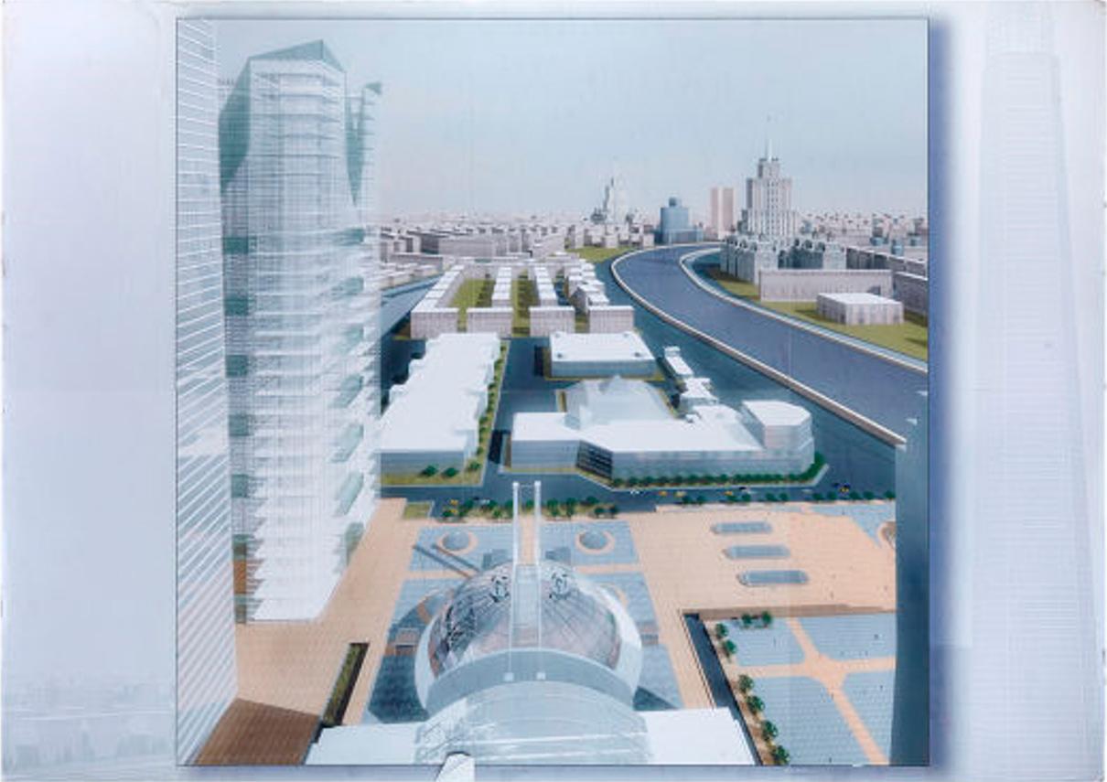 Визуализация проектного предложения центрального ядра немецкого архитектора Манфреда фон Геркена. 2002 год