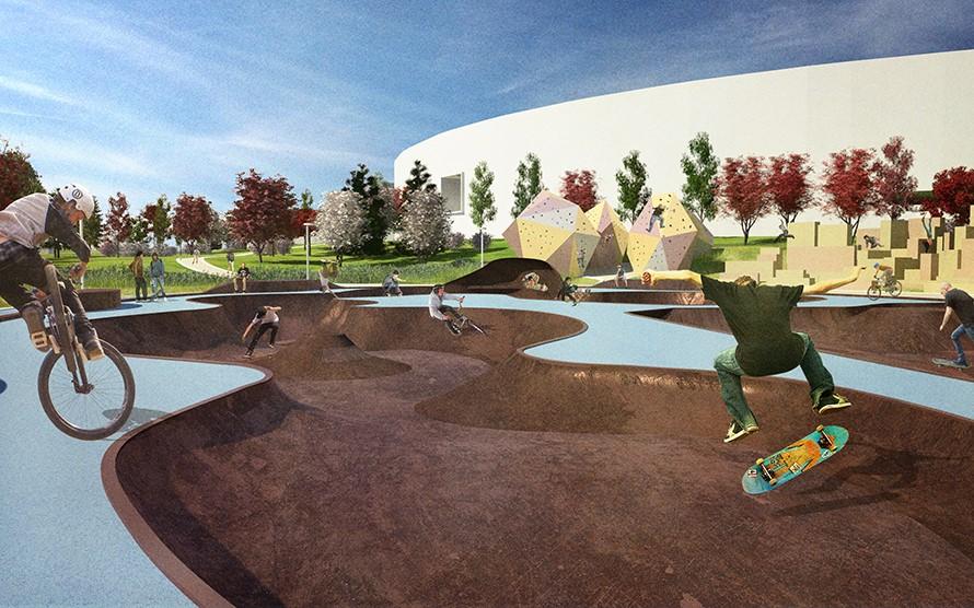 В Спортивном парке установят велодром, трамплины для скейтбордистов, волейбольные, баскетбольные, футбольные и хоккейные площадки