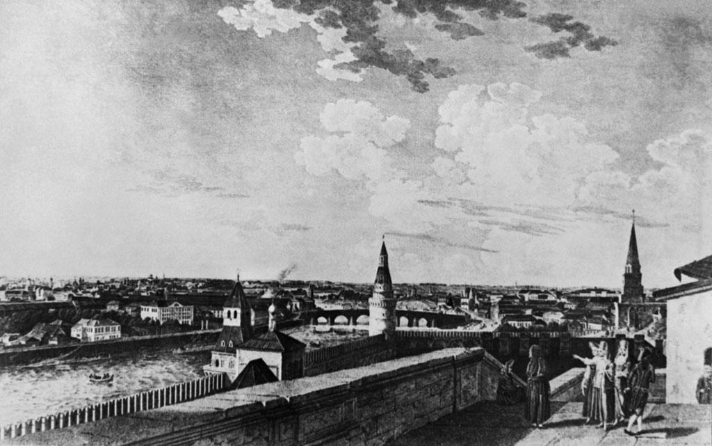 Район Замоскворечья. XIXвек. Репродукция состаринной гравюры