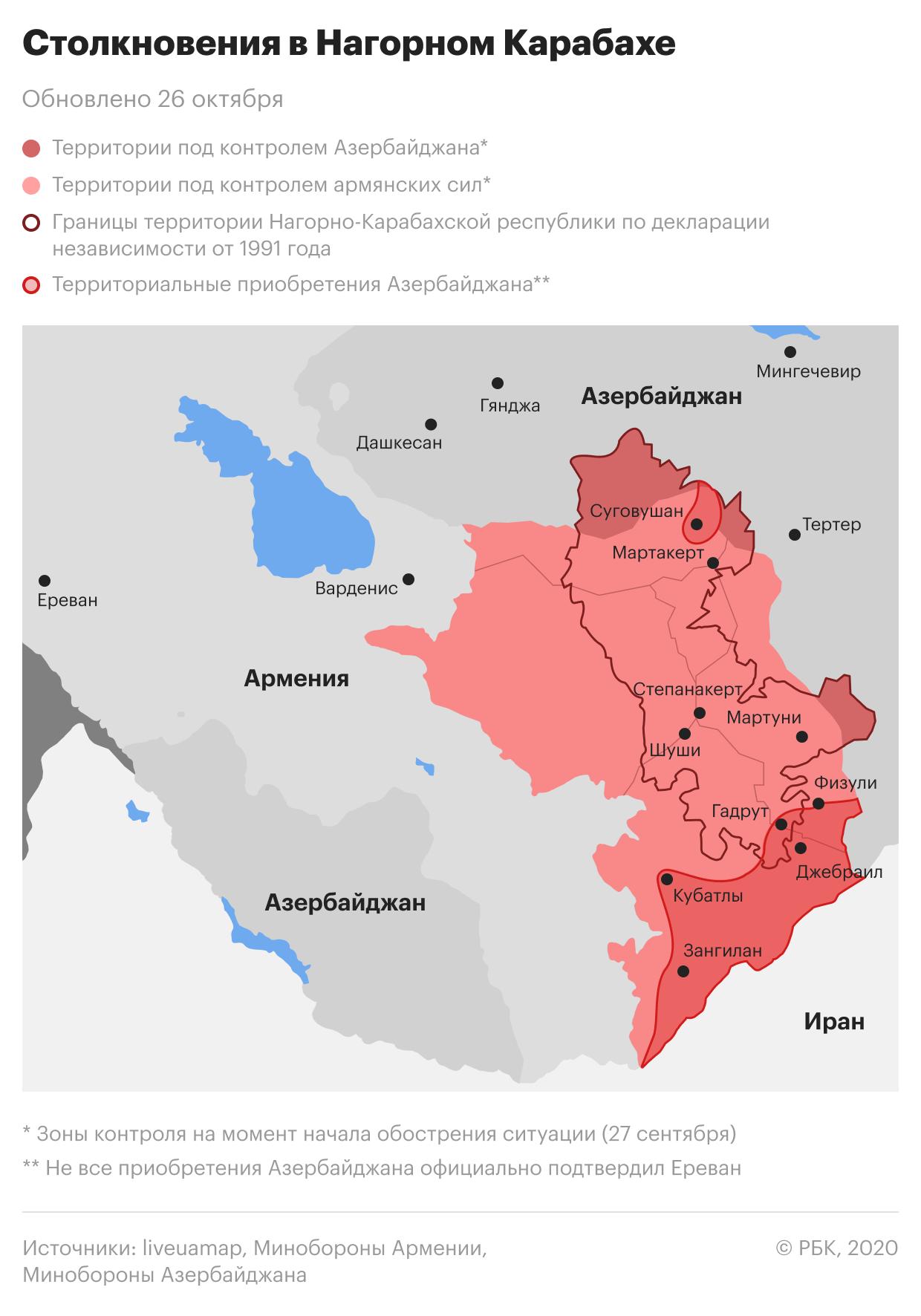 Обострение конфликта в Нагорном Карабахе. Карта на 26 октября