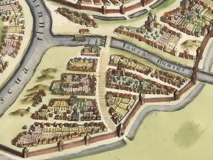 Фрагмент плана Москвы Мериана, 1638 год. Хорошо видны обширные приусадебные участки у каждого дома