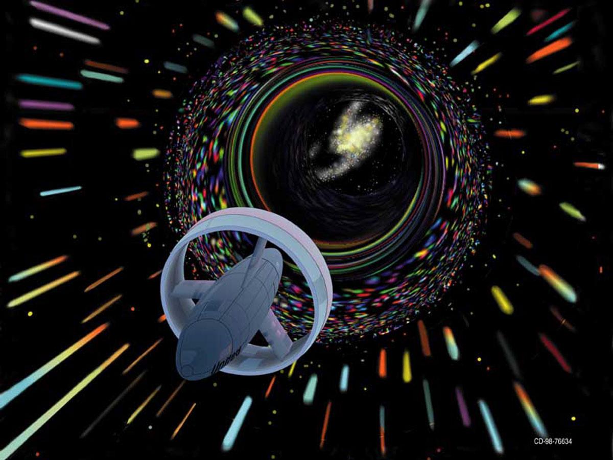 Путешествие через кротовую нору в представлении художника NASA, 1998 год